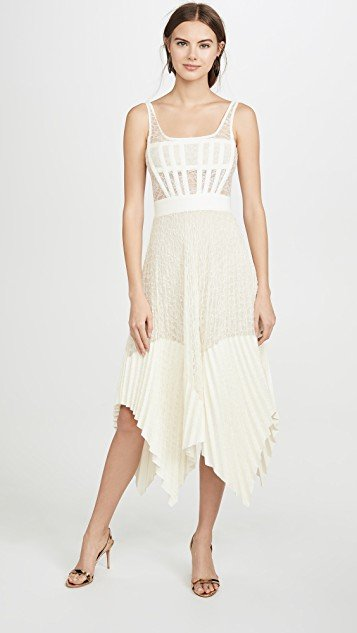Vein Lace Pleated Corset Dress