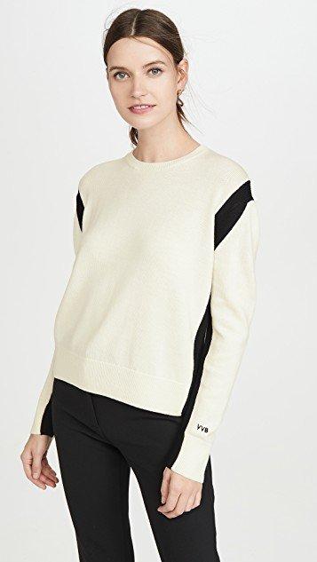 Open Back Crew Neck Sweater