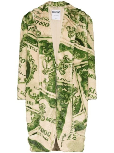 Moschino Dollar Bill Patterned Coat - Farfetch