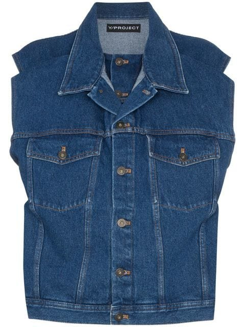 Y/Project Denim Sleeveless Jacket - Farfetch