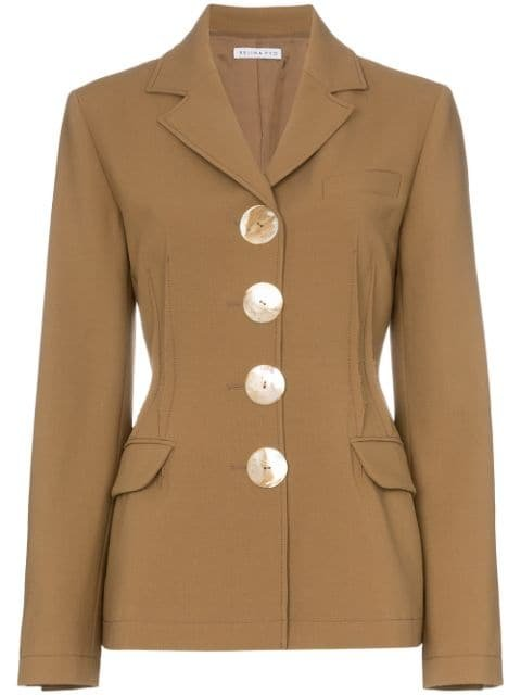 Rejina Pyo Fitted Wool Blazer With Oversized Buttons - Farfetch