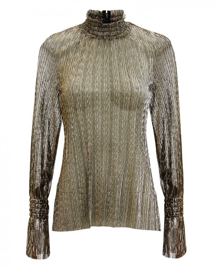 Paola Metallic Striped High-Neck Blouse