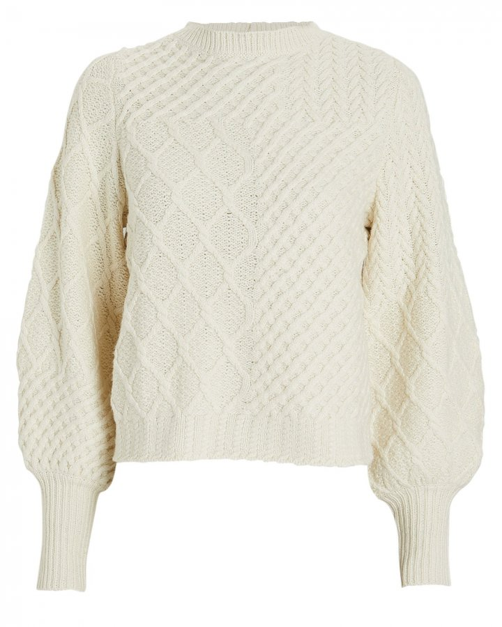 Patchwork Cable Knit Wool Sweater