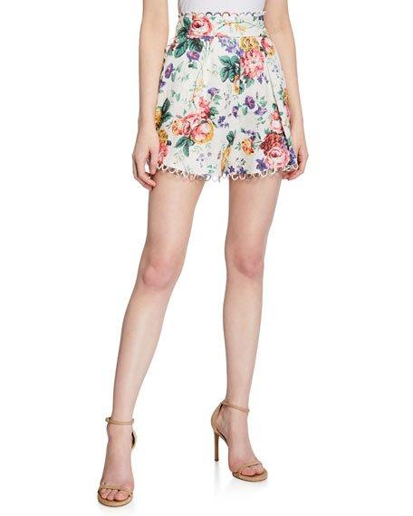 Allia High-Waist Linen Shorts