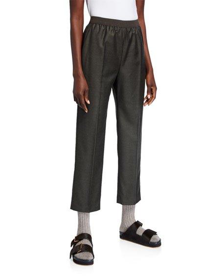 Wool-Cashmere Flannel Wide-Leg Sporty Pants