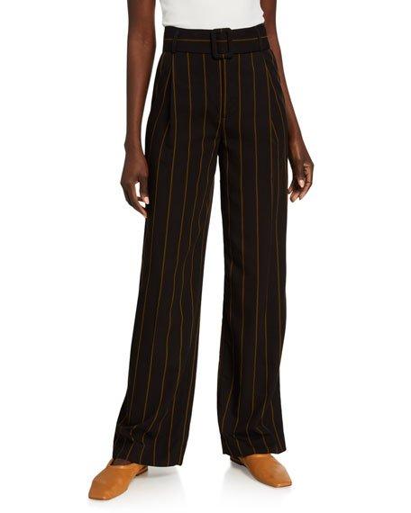 Belted Wide-Leg Stripe Pants