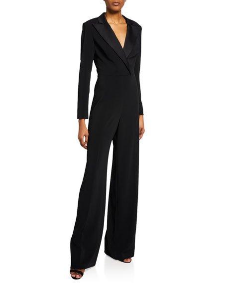 Roland V-Neck Long-Sleeve Tuxedo Jumpsuit