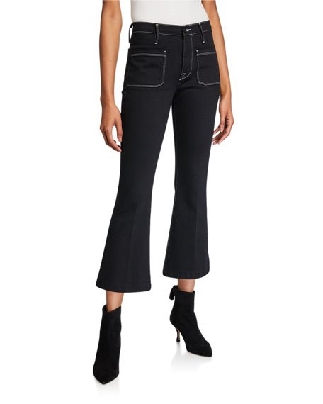 Bardot Crop Flare Jeans w/ Contrast Stitching