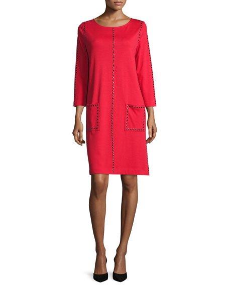 Studded 3/4-Sleeve Shift Dress