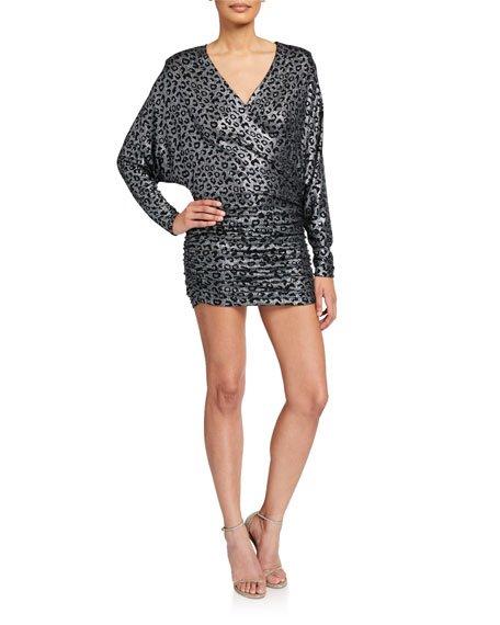 Metallic Animal-Print V-Neck Long-Sleeve Shirred Dress