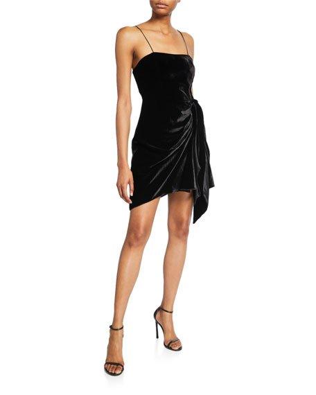 Kiki Draped Velvet Mini Dress