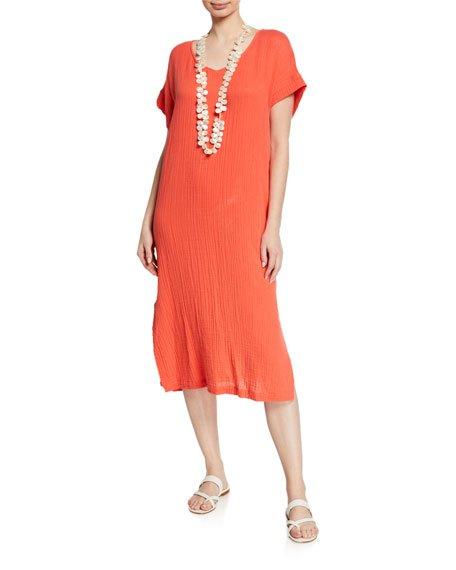 V-Neck Short-Sleeve Lofty Organic Cotton Midi Dress