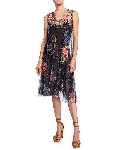 Neiro Floral Mesh Sleeveless Dress