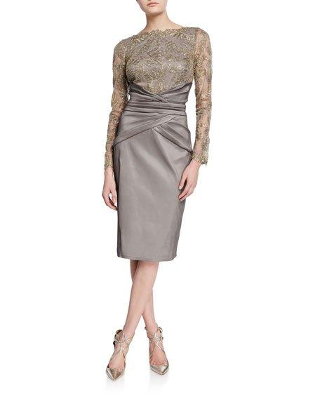 Long-Sleeve Taffeta Cocktail Dress w/ Pleated Waist & Corded Lace