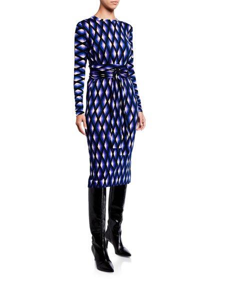 Gabel Printed Wool Belted Dress