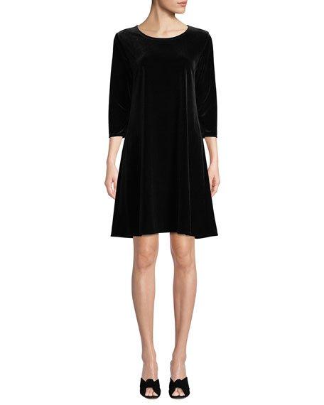 Petite Round-Neck 3/4-Sleeve A-Line Stretch-Velvet Dress