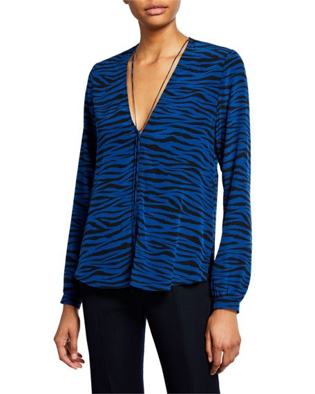 Kirk Zebra-Stripe V-Neck Long-Sleeve Silk Top