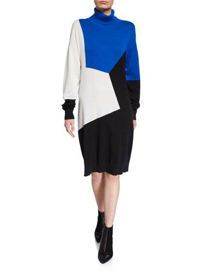 Plus Size Colorblock Turtleneck Cotton Sweaterdress
