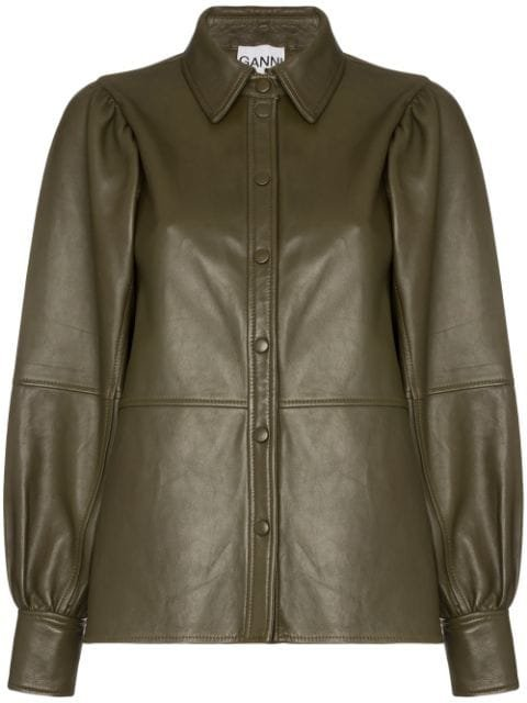 GANNI Leather Shirt Jacket - Farfetch