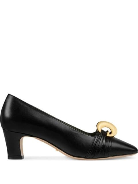 Gucci Leather mid-heel Pump With Half Moon GG - Farfetch