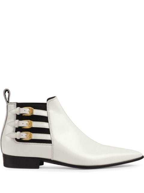Gucci Pointed Side Buckle Ankle Boots - Farfetch