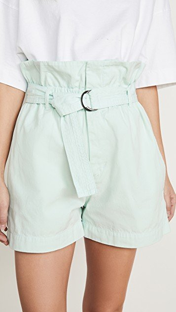 Canvas Belted Paper Bag Shorts