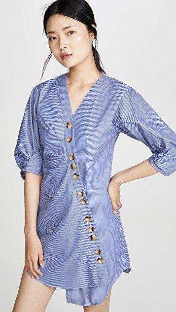 Striped Asymmetrical Shirtdress