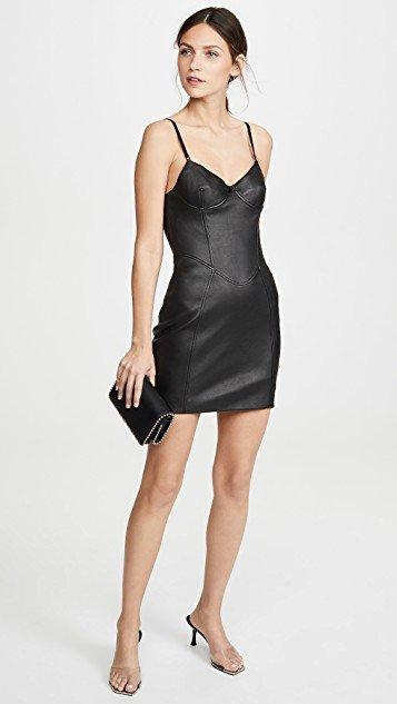 Stretch Leather Little Black Dress