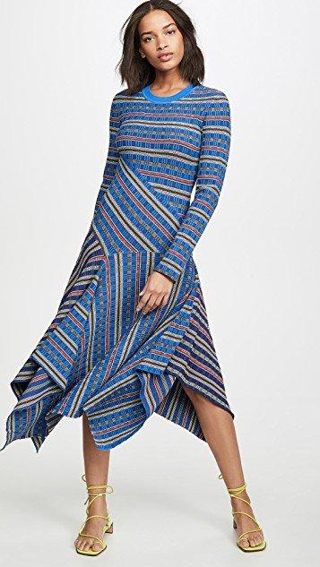 Long Sleeve Rib Knit Midi Dress