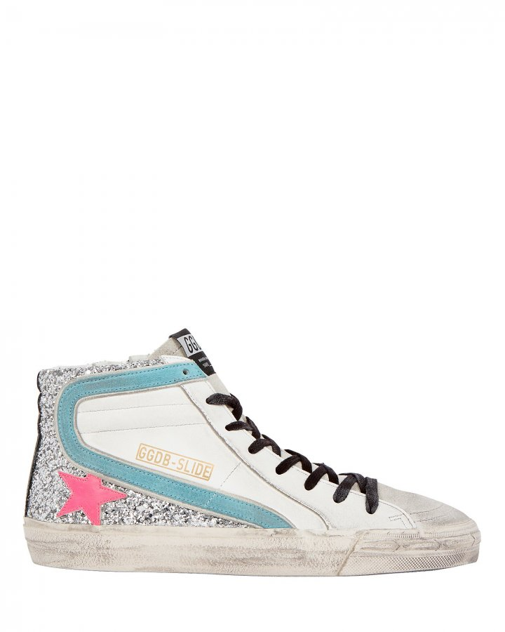Slide Glitter High-Top Sneakers