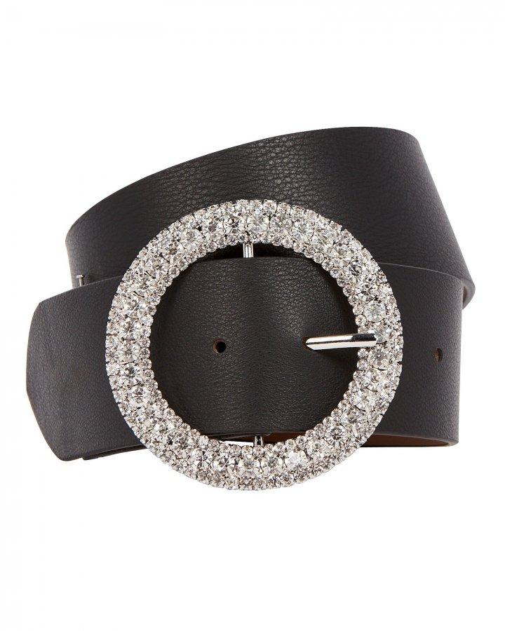 Clara Crystal Buckle Leather Belt