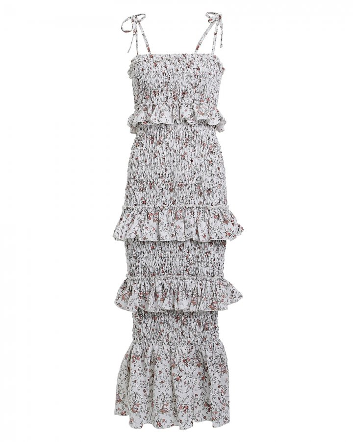 Haisley Ruched Floral Linen Dress