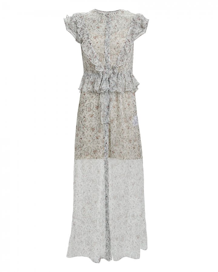 Tilda Ruffled Floral Silk Chiffon Dress