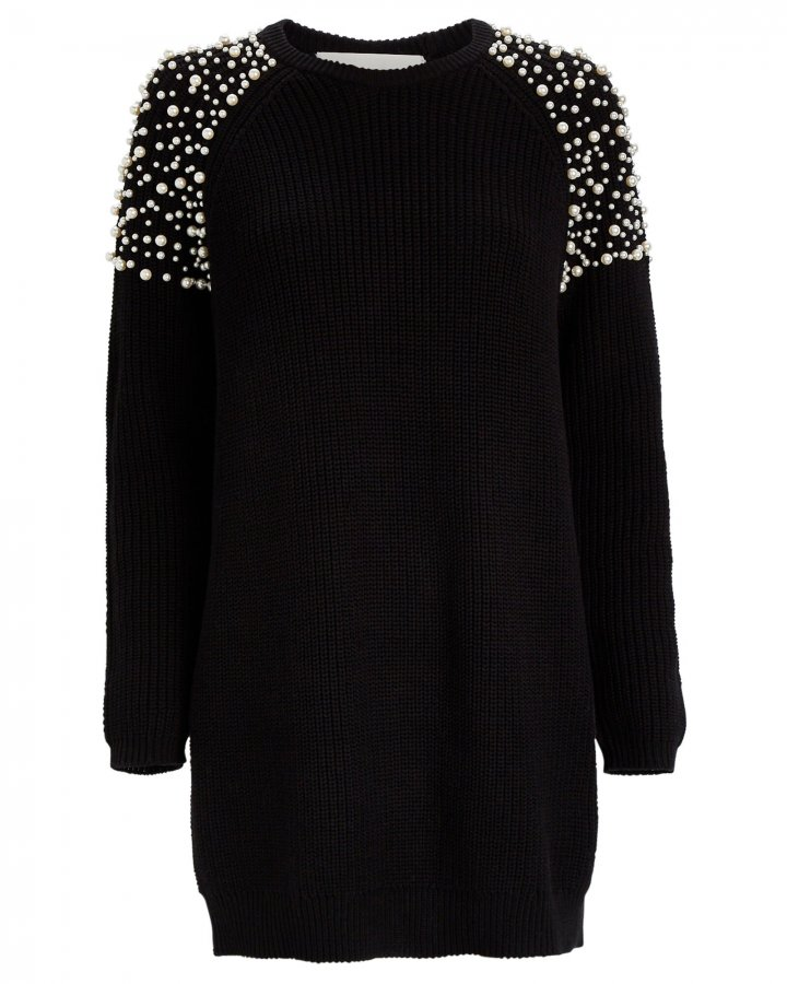 Faux Pearl-Embellished Sweater Dress