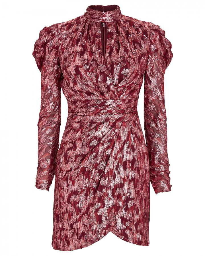 Brocade Mini Wrap Dress