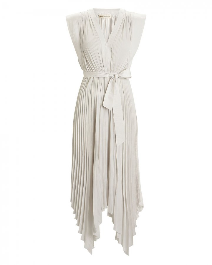 Maysha Pleated Satin Dress