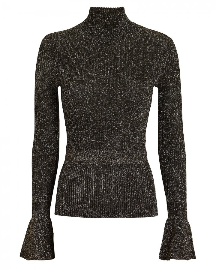 Lilia Lurex Rib Knit Turtleneck