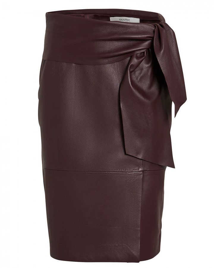 Aliah Tie Waist Leather Skirt