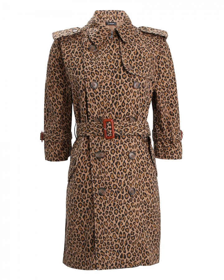 Leopard Double-Breasted Trench Coat