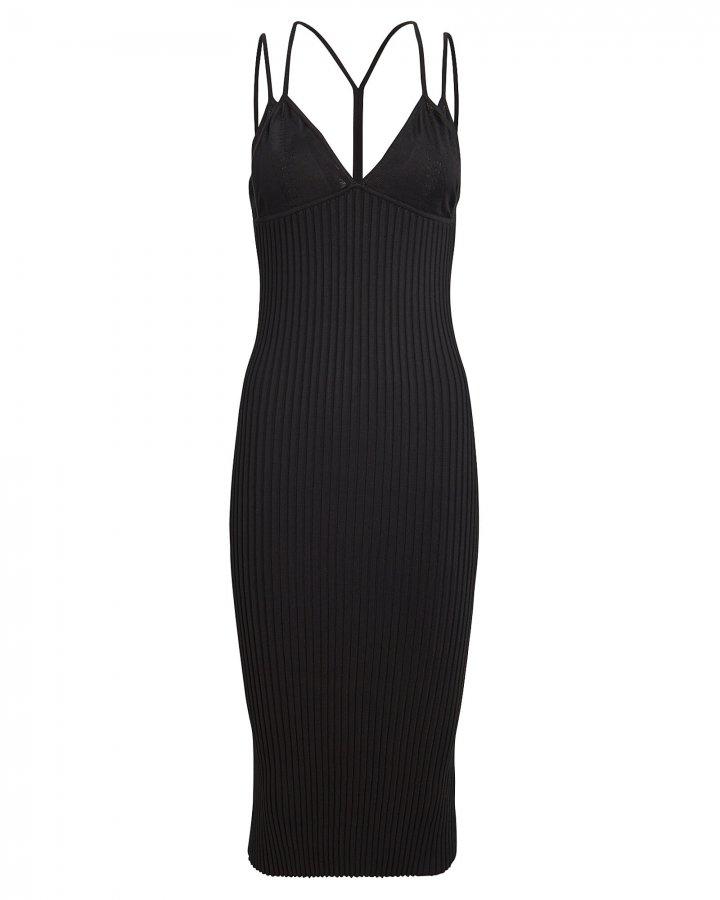 Layered Bra Ribbed Midi Dress