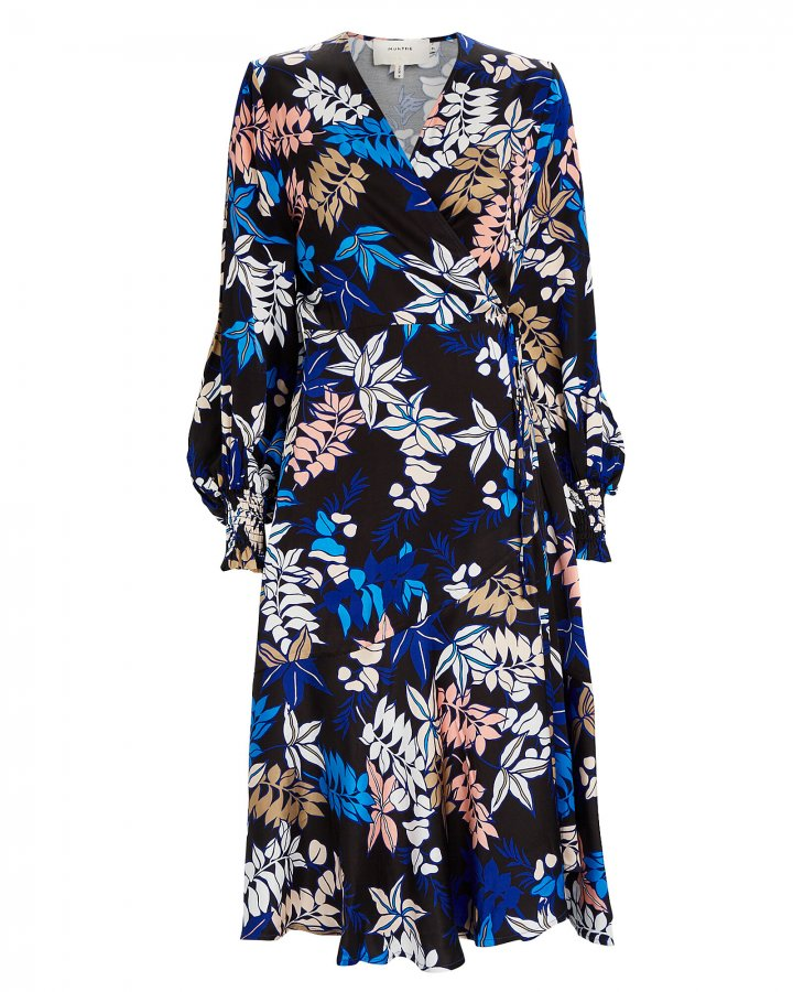 Jamie Floral Satin Wrap Dress