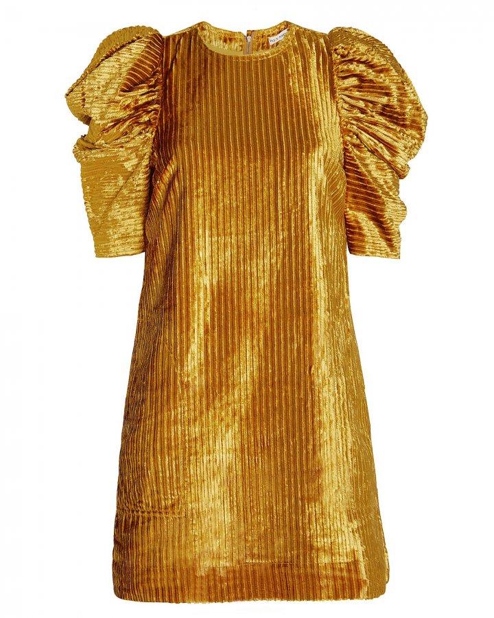 Callahan Corduroy Puffed Shoulder Dress