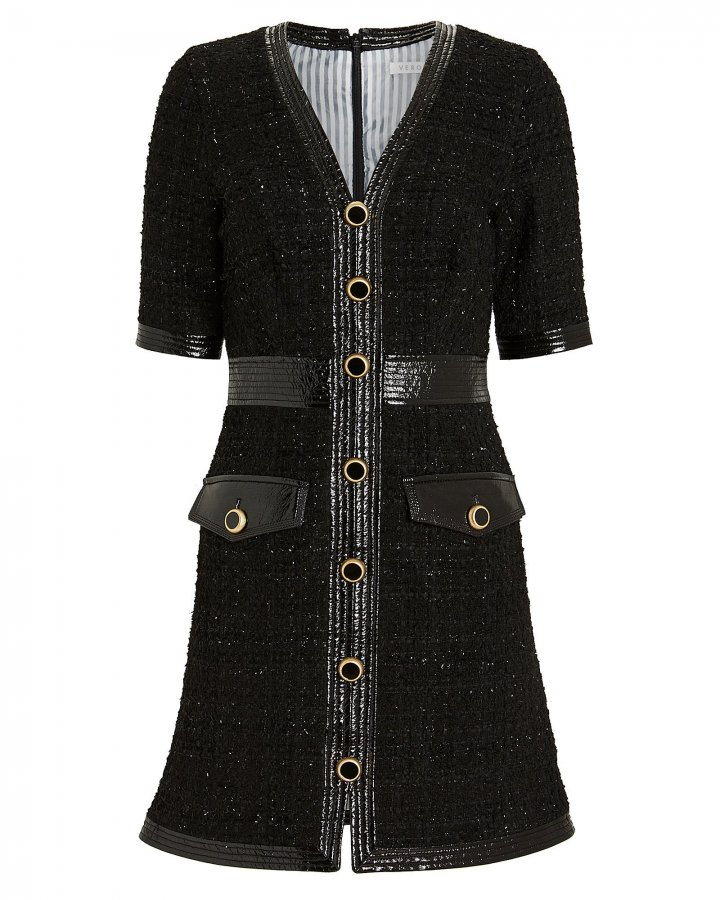 Simona Vegan Leather-Trimmed Tweed Dress