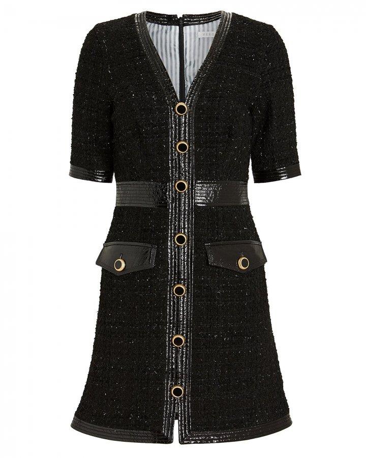 Simona Vegan Leather-Trimmed Tweed Dress