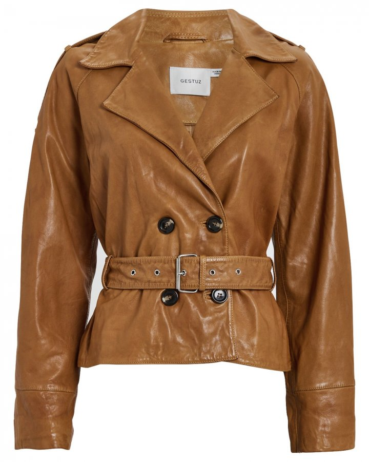 Violitta Belted Leather Jacket
