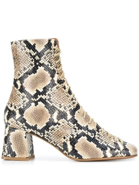 BY FAR Snake Print Ankle Boots - Farfetch