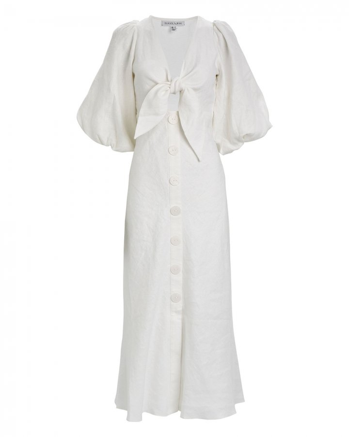 Savannah Linen Tie Front Dress