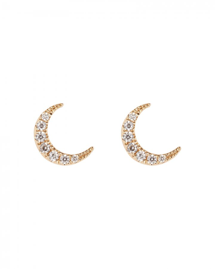 Mini Diamond Moon Studs