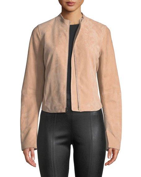 Cropped Zip-Front Suede Moto Jacket