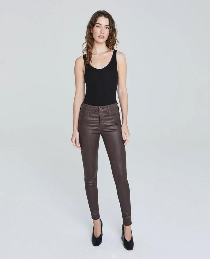 The Farrah Skinny in Leatherette Lt Raleigh Brown at AG Jeans Official Store
